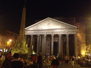 The illuminated Pantheon at night.