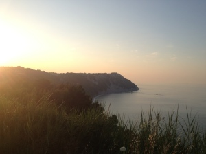 Overlooking the beach at Sirolo at sunset.