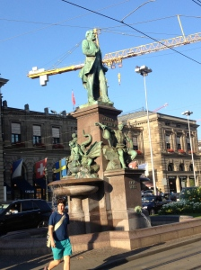 Statue of Richard Kissling, a Swiss sculptor, outside the train station.