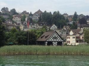 Cute little houses beside the lake.