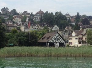 Cute little houses beside the lake.