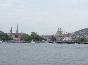 The main centre of Zürich as seen from the ferry on the lake.