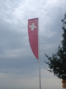 The Swiss flag (although this one isn't in the traditional square shape).