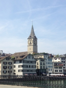 The clock tower of St Peters church.