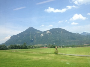 View of the Austrian countryside as I sped towards Vienna in a train.
