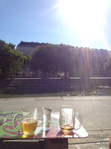 Our mugs of beer and Radler in the Viennese sunshine.