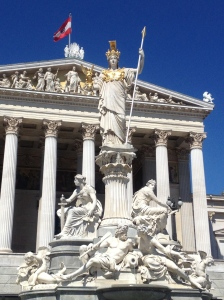 The statue of Athena in front of the Parliament Building.