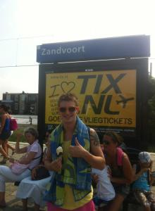 At the Zandvoort station after our afternoon at the beach.