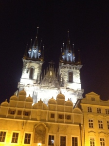 The twin steeples of the Týn Church, built in 1365.