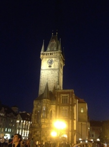 The clock tower of the Old Town Hall as seen at night.