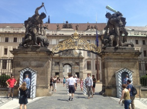 The gate that served as the entry into Prague Castle grounds.