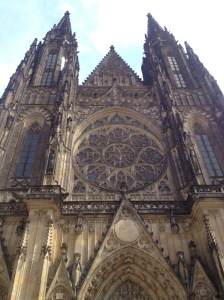 The front view of St Vitus Cathedral.