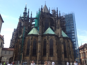 Side view of St Vitus Cathedral, complete with scaffolding.