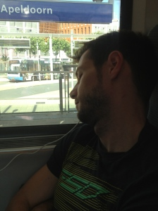 Ralf having a nap on the train.