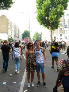 Ellie and I following the crowds through carnival.
