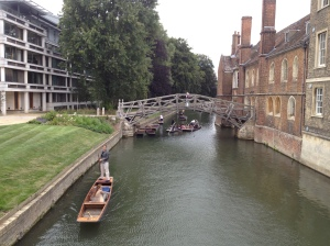 The Cam winds through Cambridge in between the various colleges.