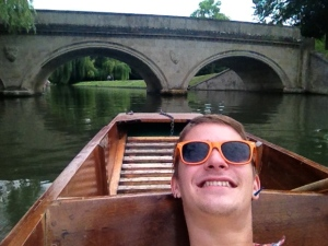 Being a passenger on the punt (right before Richard nearly lost our pole at that bridge).