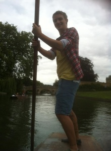 Myself having a go at steering the punt.