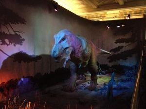 The tyrannosaurus rex moving, life-like replica that we waited for so long to see.