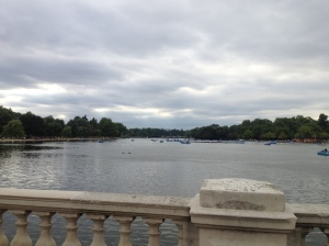The Serpentine, the major lake of the park, stretching out across Hyde Park.