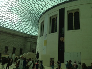 Inside the main entrance chamber of the British Museum.