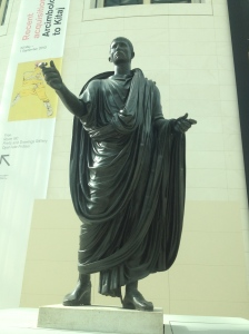 Statue of Caesar that was being featured in the main hall of the British Museum.