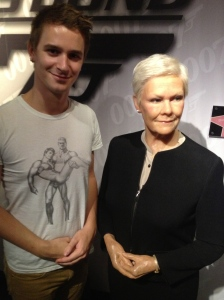 Pretending I'm 007 with Dame Judy Dench.