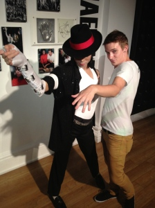 Striking a pose with MJ.