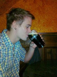 Unsuccessfully trying to sip my Guinness.