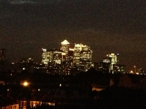 Canary Wharf at night, also as seen from John's flat.