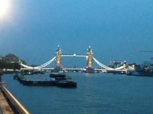 Tower Bridge all lit up.