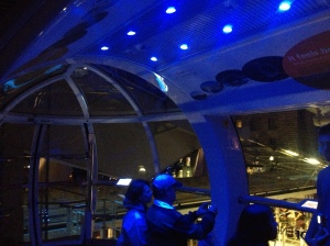 Inside the London Eye berth.