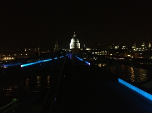 The Millennium Bridge, just before we walked across it on the way home.