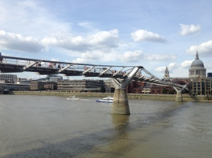 Millennium Bridge during the daytime on my walk with Tim.