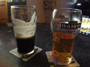 Matt's pint of Guinness and my pint of Bulmers cider at The Front Lounge, complete with their appropriate glasses.