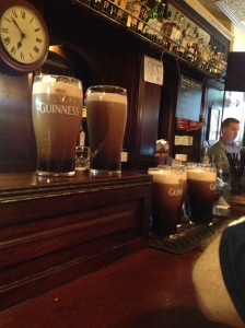 A round of Guinness' in their various stages of settling.