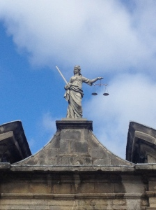Statue of Lady Justice inside the castle compound.