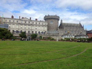 View of the castle from one of its several beautiful green lawns.