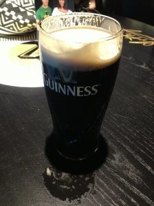 A few mouthfuls into the not so perfect pint of Guinness that I poured myself.