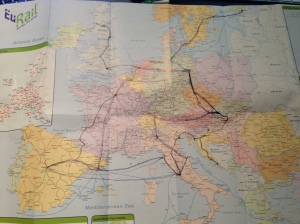 The Eurail Map I used for planning - as you can see, the original plans I made aren't quite what ended up happening.