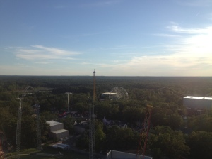 Six Flags: New Jersey at sunset.