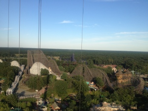 View of one of the huge, wooden roller coasters.