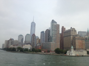 Manhattan as seen from the ferry to Liberty Island.