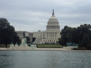The Capitol building as seen from the side the National Mall.