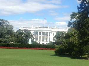 Rear view of the White House.