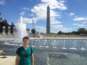 Washington Monument as seen from the Rainbow Pool in the WWII Memorial.