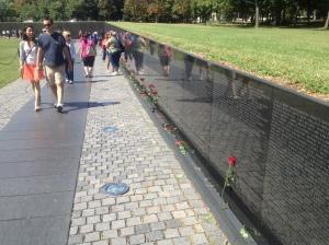 The memorial wall of the Vietnam Veterans Memorial.