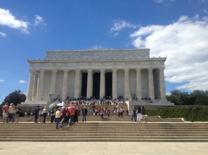 The view of the Lincoln Memorial from outside at the bottom...