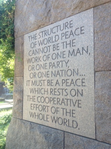 """The structure of world peace cannot be the work of one man..."""