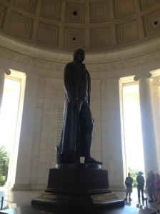 The statue of Jefferson inside the inner circular chamber.